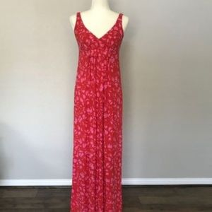 Jitney Red Pink Splatter Maxi Dress